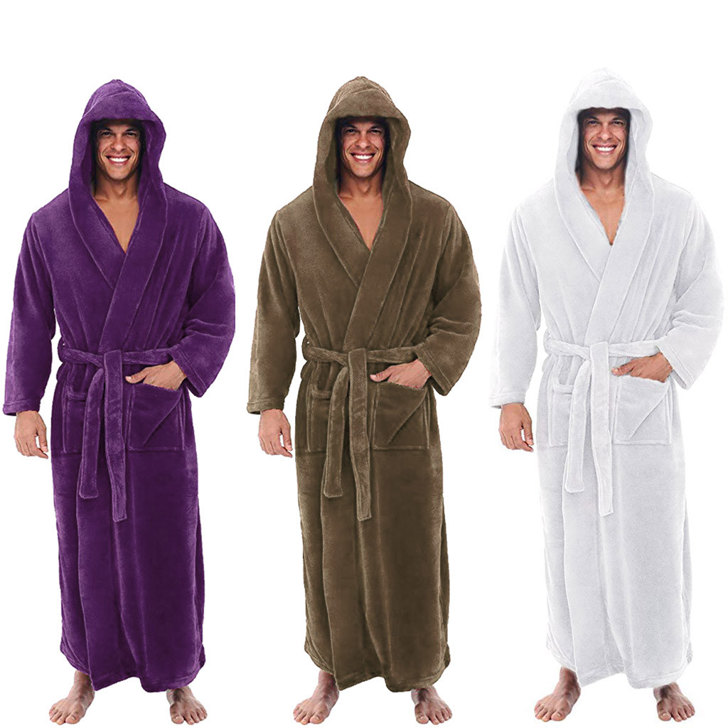 Fashion Casual Mens Bathrobes Flannel Robe Hooded Long Sleeve Couple Men Woman Robe Plush Shawl Kimono Warm Male Bathrobe Coat