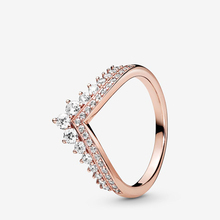 JrSr new 100% 925 Sterling Silver Rings Princess Wishbone Ring Heart Engrave Rings for Wome