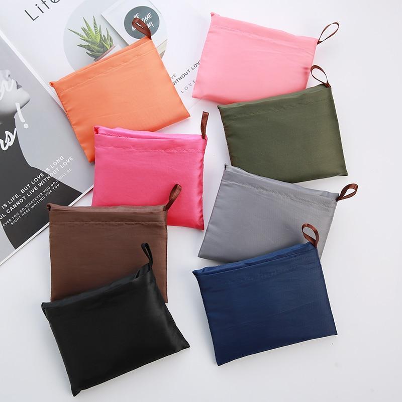 Thick Leisure Style Nylon Large Handbag Environmental Friendly Reusable Polyester Portable Shoulder Bag Foldable Shopping Bag