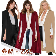 Windbreaker Female 2021 Fashion Large Size Cloak No Buckle Coat Slim Streetwear Ladies Tops Longline Cape Party Casual Blazer