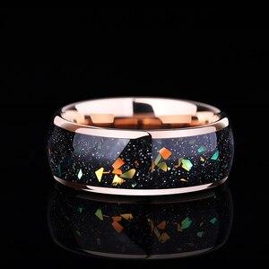 Image 3 - 8 мм ширина Опал Обручальные Мужские t вольфрамовые кольца розовое золото вольфрамовые мужские ювелирные изделия, бесплатная доставка