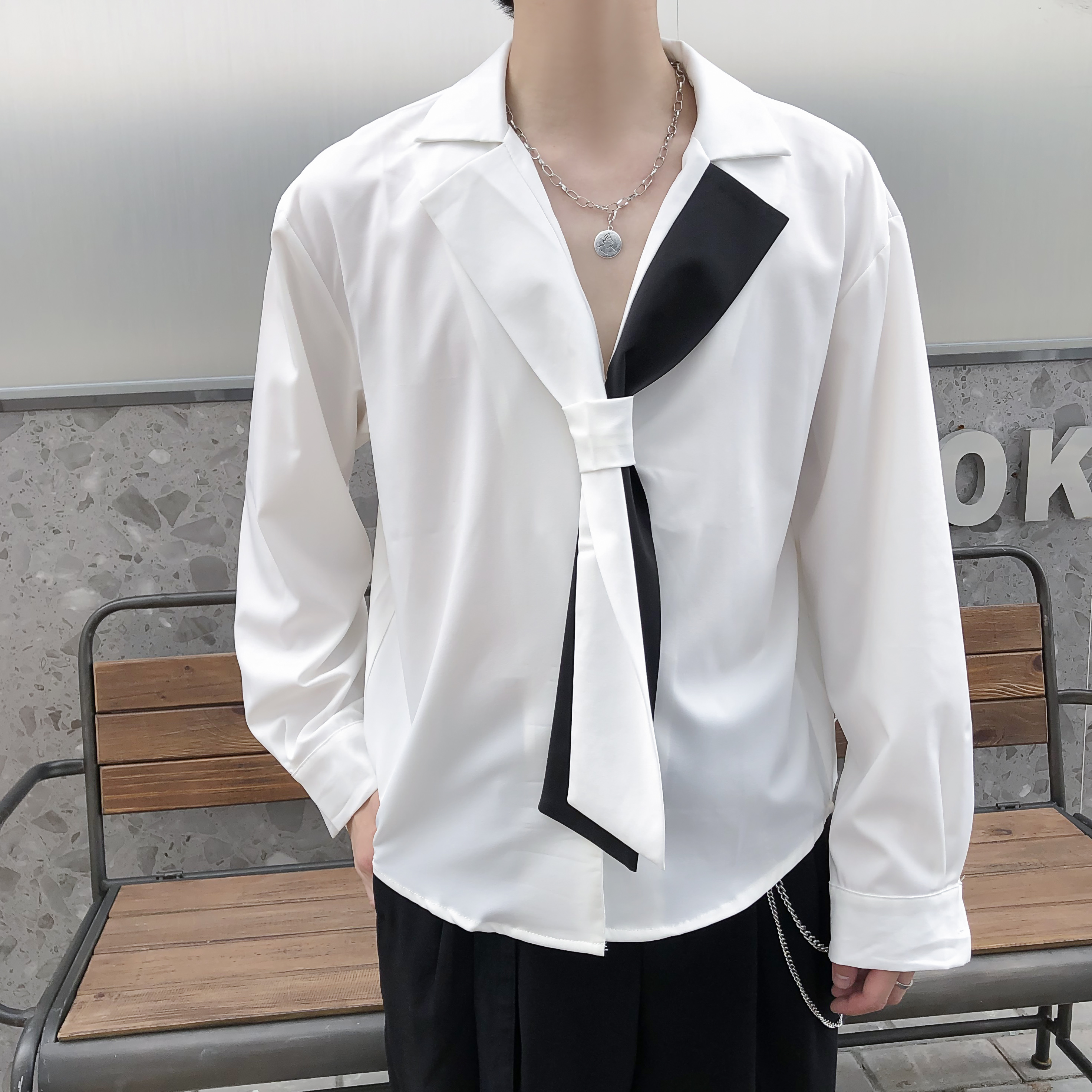 2020 Spring Hair Stylist Tide Brand Shirt Men Korean Men's Loose Casual Black And White Chiffon Long-sleeved Shirt