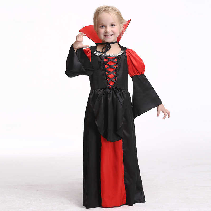 Anak Gadis Gothic Anime Vampire Penyihir Cosplay Kostum Anak Halloween Karnaval Ratu Pesta Topeng Gaun Tahap Pakaian Mewah