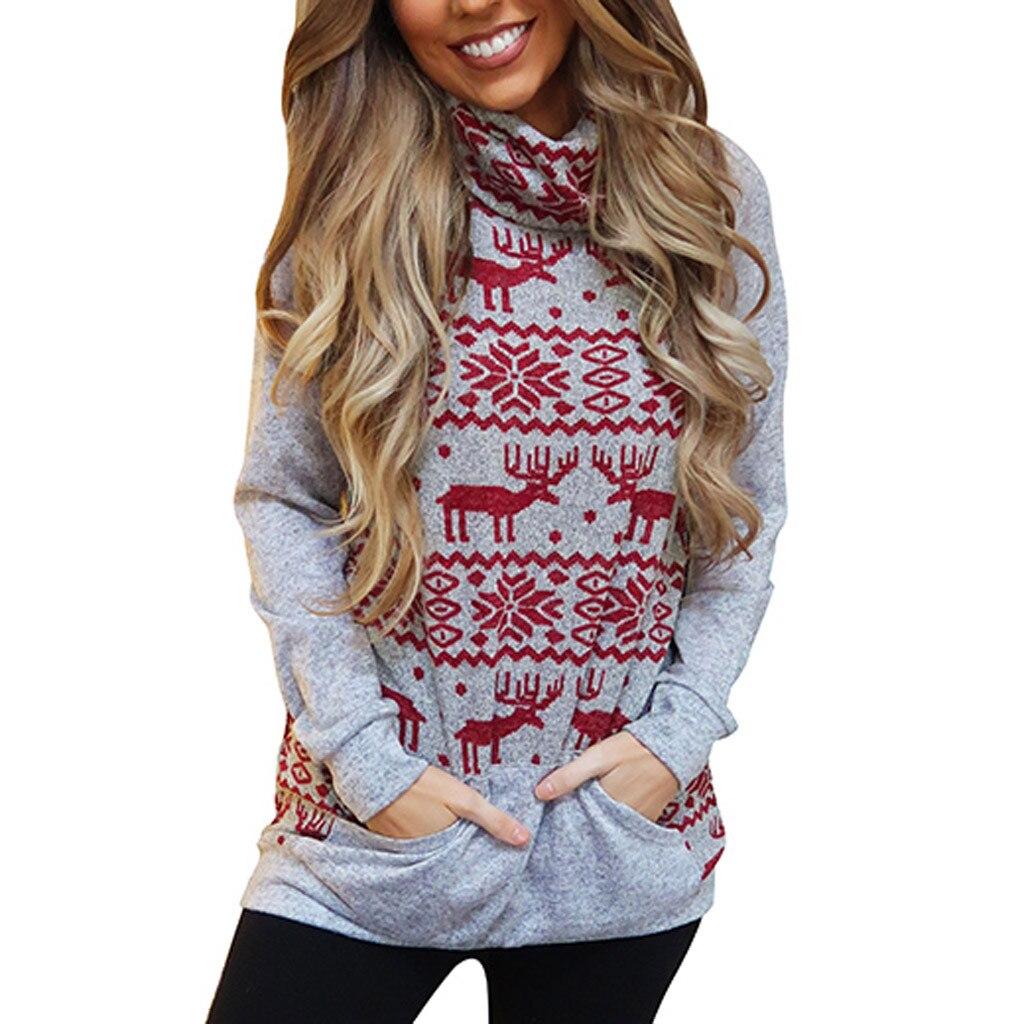 2019 New Arrivals Casual Sweatshirt Christmas Printed Long Sleeve Women Hoodies Sweatshirt Casual Elk Print Pullovers #B