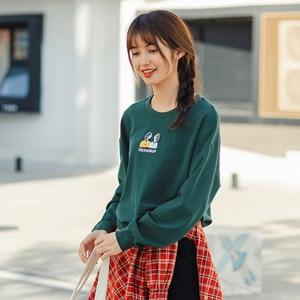 Image 4 - INMAN 가을 겨울 문학 카톤 수 놓은 Drawstring Loose All match Ladys Sweatshirt