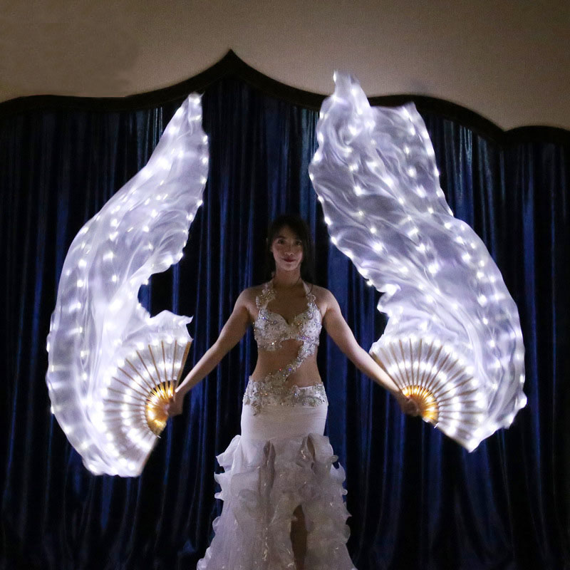 90*180cm Luminous White Light LED Fan Veils Bellydance Oriental Belly Dance For Women Dancing Accessories