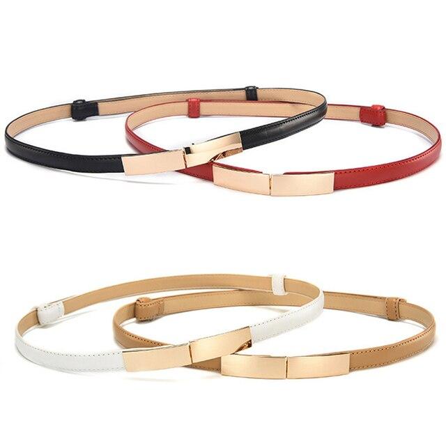 Belt dress simple versatile  Fashion Women Leather Belt Thin Skinny Metal Gold Elastic Buckle Waistband Belt Dress Accessories 8