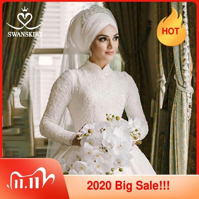 Luxury Muslim Appliques Wedding Dress Swanskirt AZ01 Vintage Princess Ball Gown Long Sleeve Satin Bridal gown Vestido de noiva