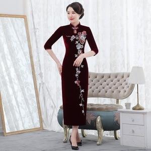 Image 4 - Inverno novo de veludo dourado cheongsam longo prego grânulo retro melhorado vermelho casamento brinde mãe de lei vestido mostrar alto grau