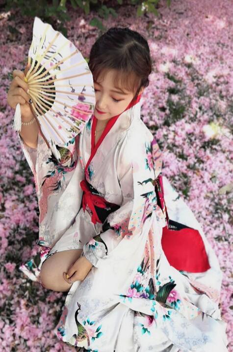 Spring Summer Japanese  Kimono Yukata Woman Stage Performance Coat Outer Garment+Waistband