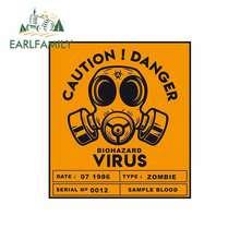 EARLFAMILY 13 سنتيمتر x 11.6 سنتيمتر الحذر خطر فيروس BIOHAZARD ملصق لاصق سيارة مضحك