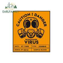 EARLFAMILY 13 см x 11,6 см предупреждение, опасности, биоопасности, вирусная наклейка, забавная наклейка для автомобиля