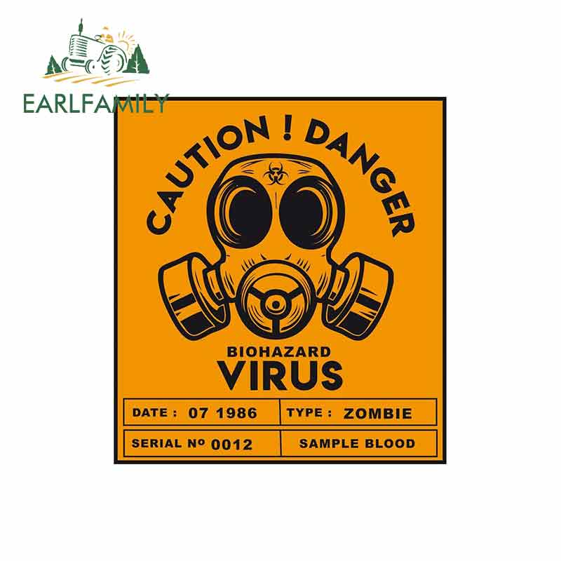 EARLFAMILY 13cm X 11.6cm CAUTION DANGER BIOHAZARD VIRUS Decal Funny Car Sticker