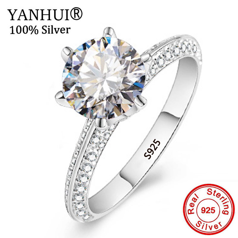 YANHUI Luxury 2Ct Moissanite Wedding Engagement Rings For Bride 100% Real 925 Sterling Silver Rings Women Fine Jewelry RX279