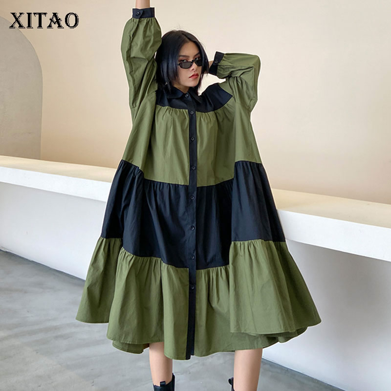 XITAO Patchwork Plus Size Dress Women Loose Fashion Simple Personality Turn Down Collar 2020 New Autumn Full Sleeve Dress ZP3455