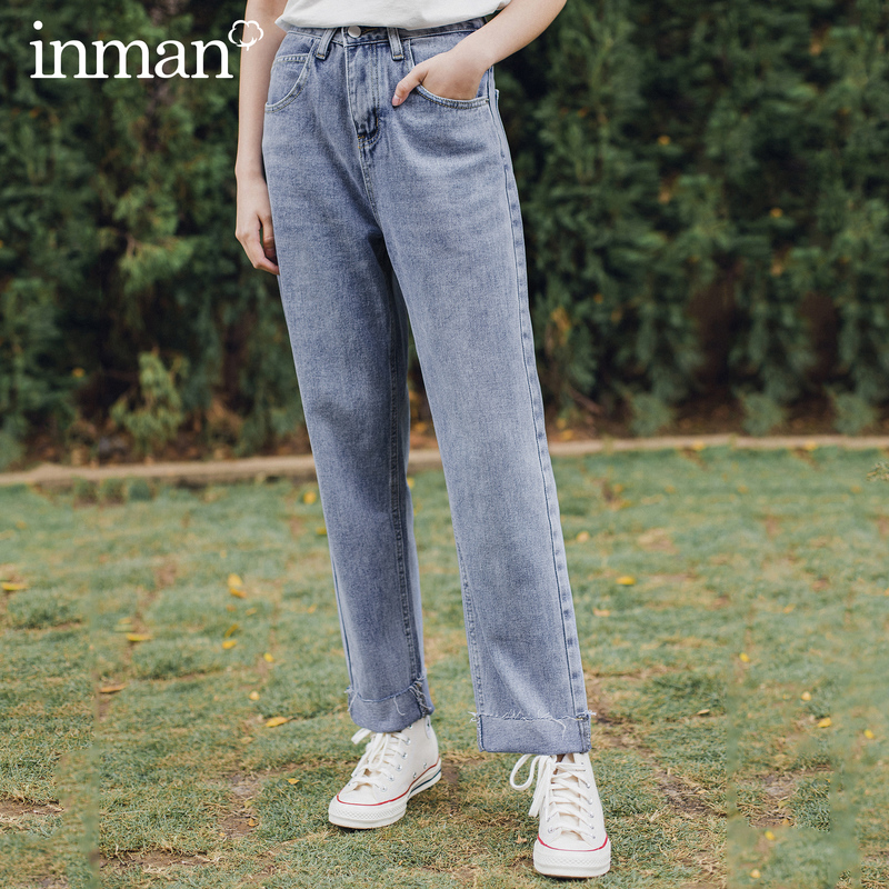 INMAN 2020 Summer New Arrival Simple All Matched Mid Waist Fit Style Comfortable Jeans Pants