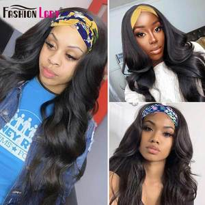 Image 4 - Fashion Lady Headband Wig Human Hair Straight Wave For Black Women 2020 Winter New Arrival Remy Hair Glueless Full Machine Wigs