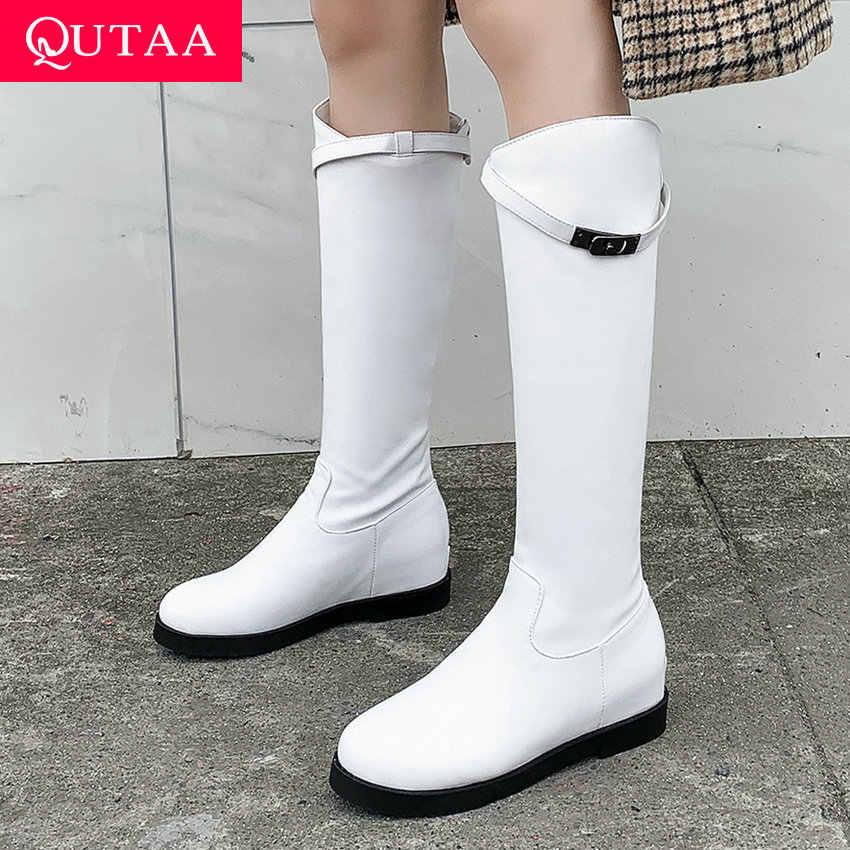 QUTAA 2020 fermuar kalın topuk rahat kadın ayakkabı moda Metal toka diz yüksek çizmeler sonbahar kış platformu uzun çizmeler Size34-43