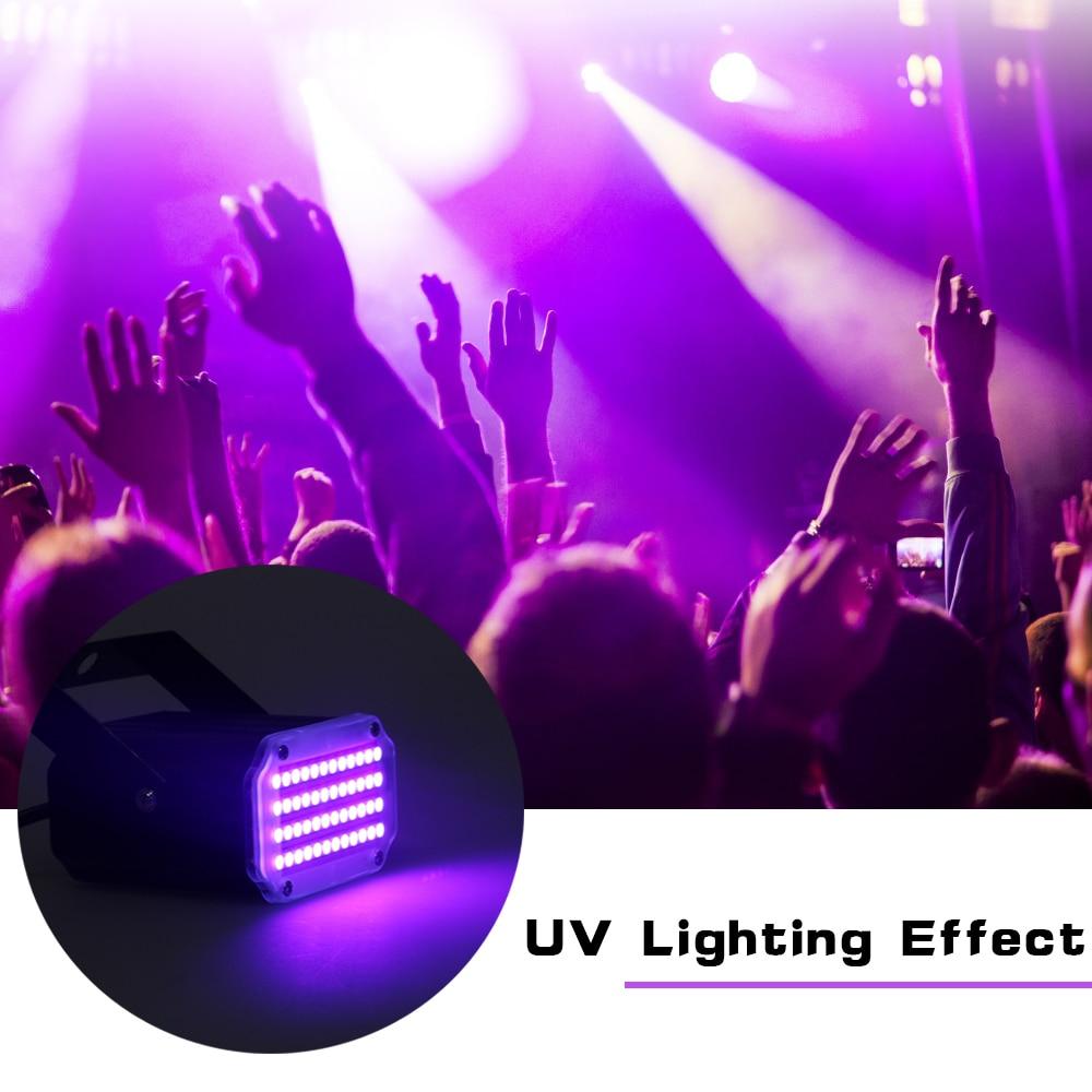 Mini Led Disco Light 48 LED RGB UV White Strobe Light Music Sound Activated Flash Stage Light Christmas Decorations For Home