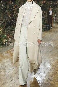 Image 2 - Beyaz Katı Uzun Yün Karışımı Bayan Ceket Vintage kadın ceketi Geniş waisted Kruvaze Kore Bayan Moda Ceket