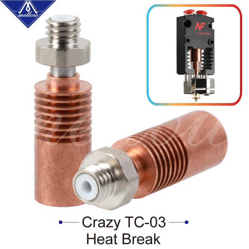 Mellow NF-Crazy Tc-3 Hotend Spare Heat Break Throat For 3D Printer 2 In 1 Out 2 Colors Dual Extruder