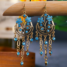 Bohemian Vintage Rhinestone Earrings For Women Ethnic Style Bronze Water Drop Shaped Alloy Hollow Out Plum FlowerLong Earrings