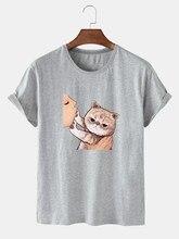 SolidColor kedi sevimli baskı kısa kollu yuvarlak yakalı kadın pamuklu T Shirt kadın büyük boy T Shirt yaz kadın üst T Shirt