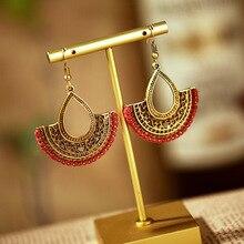 Ethnic Gold Color Copper Geometric Earrings For Women Kolczyk Summer Boho Red Silk Dangle Bijoux
