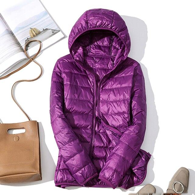 high quality 2019 New Autumn Winter Women Thin White Duck Down Jacket Parka Female Ultra Light Down Coat Short Tops Plus Size 3