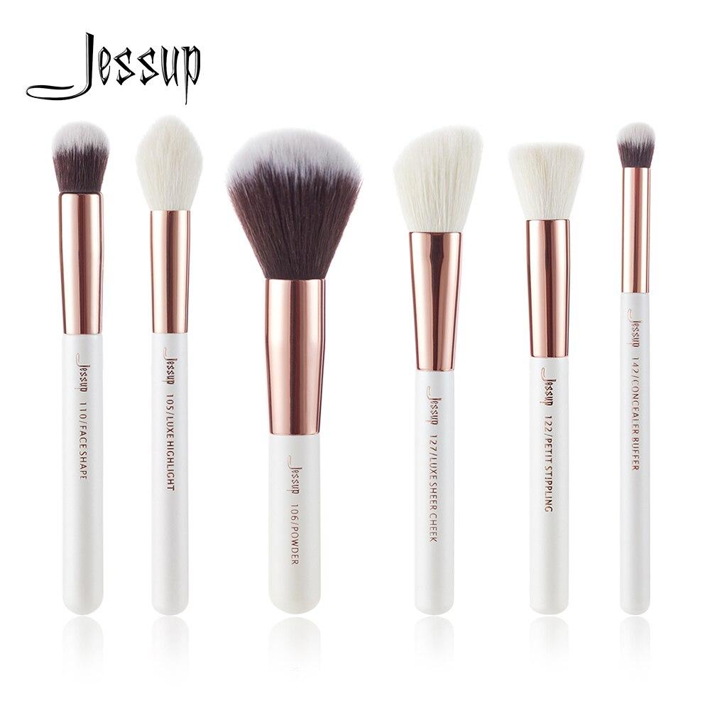 Jessup Brand 6 Шт. Набор Кистей Для Макияжа. Жемчужно-Белые/Розовые Набор для нанесения пудры, для макияжа/набор