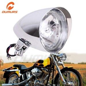 "Image 1 - OUMURS دراجة نارية العلوي 5.75 ""ثلاثي بار رصاصة كروم كشافات 10 مللي متر تصاعد ل هارلي سبورتر داينا سوفتيل المروحية FXST"