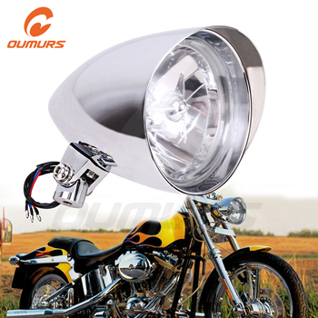 """OUMURS Motorcycle Headlight 5.75"""" Tri-Bar Bullet Chrome Headlamp 10mm Mounting For Harley Sportster Dyna Softail Chopper FXST"""