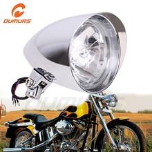 "Oumurs motocicleta farol 5.75 ""tri bar bala cromo farol 10mm montagem para harley sportster dyna softail chopper fxst"