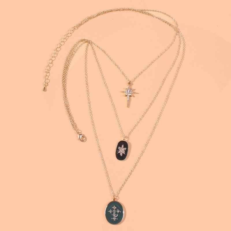Meidi couches bohême collier pour les femmes géométriques pendentif rond cristal collier long strass bijoux collier affirmatif N7055