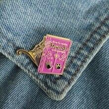 Let us be friends ! Cute Cartoon Animal Cat Purple Book Enamel pin Brooch Bag Denim Shirt Coat Badge Lapel Pin for Cat owner Kid cat in box enamel pin gold silver cat fits sits badge brooch lapel pin denim jeans shirt bag cartoon animal jewelry gift for kid