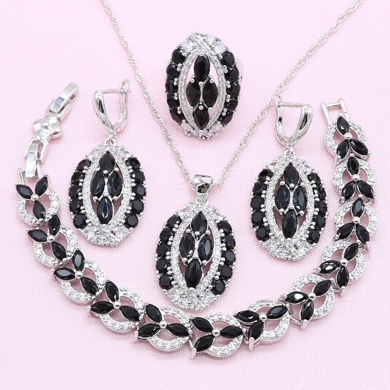 Jewelry-Sets Bracelet Earrings Pendant-Ring Necklace Semi-Precious 925-Silver Bridal