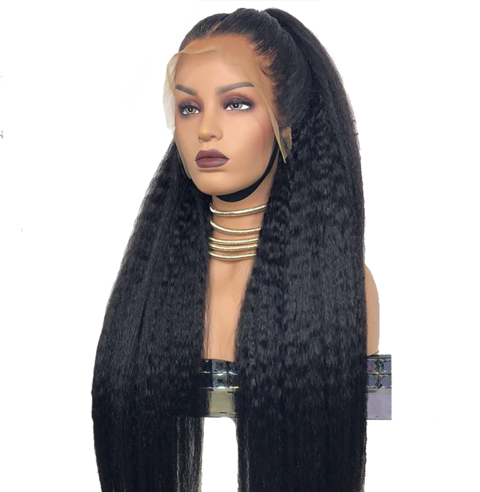 Simbeauty Baby Hair Long 26 inch Afro Kinky Straight Wig Full Lace Human Hair Wigs For Black Women Peruvian Remy Pre Plucked