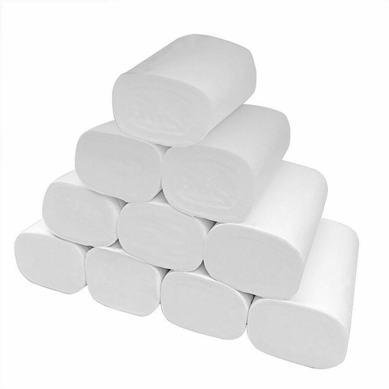 14 Rolls 4Ply Paper Natural Wood Pulp Toilet Paper White Strong Absorbent Skin-Friendly Home Toilet Tissue