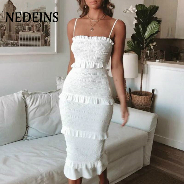NEDEINS Summer Fashion Sling Long Dress Women 2020 Casual Party Dress Female Ruffles Vestidos Plus Size Natural Solid Dress 1