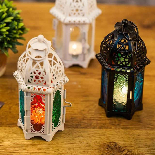 Vintage Moroccan Windproof Candle Holders Hanging Candle Lantern Iron Glass Votive Candlestick Wedding Decor Party Home 7*17cm 2