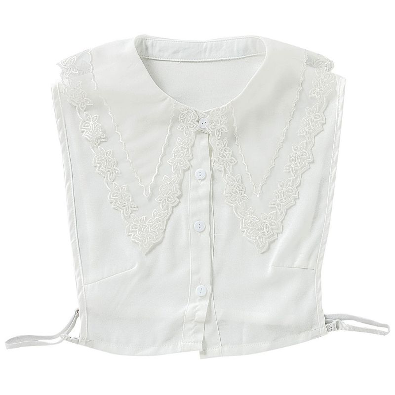 Ladies Large Pointed Lapel False Fake Collar Embroidery Sheer Floral Lace Splicing Women Detachable Decorative Half Shirt Blouse