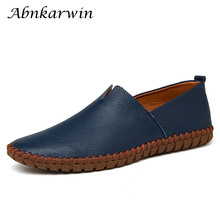 Men Shoes Mocassin Slip-On Leather Casual Big-Size Summer Cuir Soft Chaussure Homme Comfortable