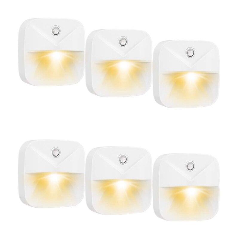 EU Plug 6Pcs Child Night Light LED Plug And Play Automatic Wall Night Lamp with Light Sensor for Baby Room  Kitchen  Bathroom  S|Night Lights| |  - title=