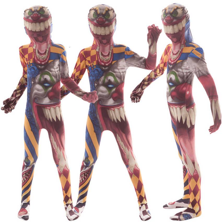 Crianças halloween cosplay trajes assustador sangrento macacão fantasia 3d impressão esqueleto carnaval palhaço múmia horror festa vestir