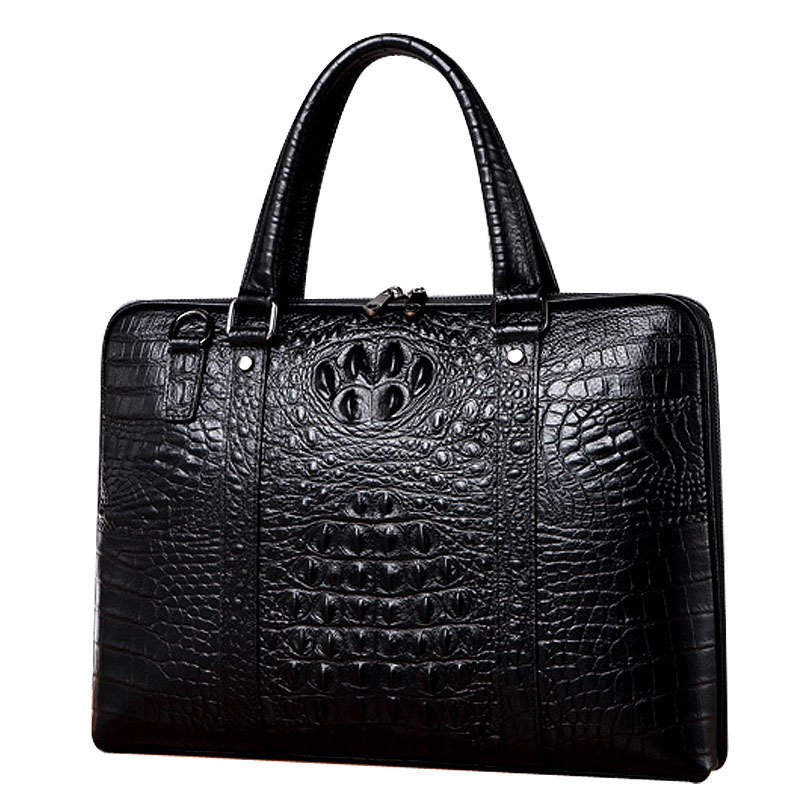 New Luxury Cow Real Genuine Leather Business Men's Briefcase Male Briefcase Shoulder Bag Alligator Messenger Tote Computer Bag