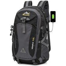 40L Wasserdichte USB lade Klettern Unisex männlichen reise männer Rucksack männer Outdoor Sports Camping Wandern Rucksack Schule Tasche Pack