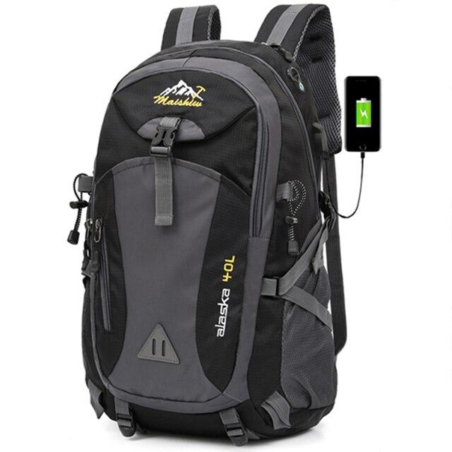 40L étanche USB charge escalade unisexe mâle voyage hommes sac à dos hommes Sports de plein air Camping randonnée sac à dos sac décole Pack