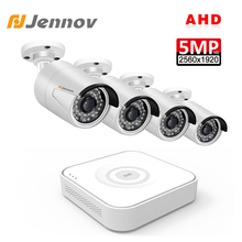 Jennov 4CH 5MP DVR كاميرا AHD CCTV مجموعة في الهواء الطلق كاميرا الأمن نظام IP طقم مراقبة الفيديو P2P HD للرؤية الليلية H.264 الأشعة تحت الحمراء
