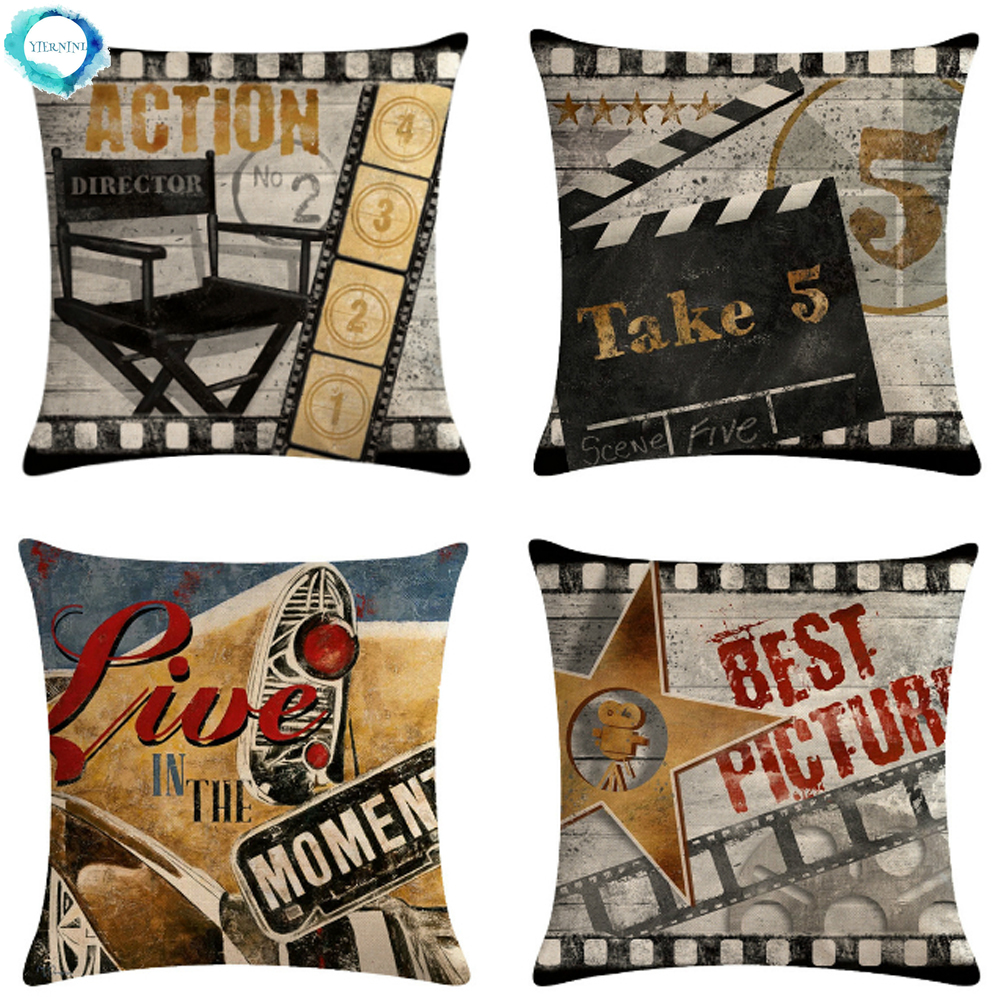 Retro Movie Film Production Letters Decorative Cushion Cover Cotton Linen Throw Pillow Cover Sofa Chair Cushion