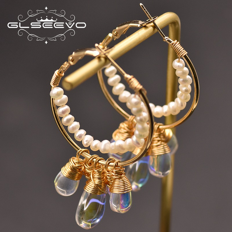GLSEEVO 100% Genuine Fresh Water White Pearl Big Earrings Handmade For Women Girl Lovers' Korean Fine Jewellery Oorbellen GE0837